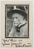 Autographs:Authors, Daniel C. Beard (1850-1941, Founder of Boy Scouts of America).Signature Below Photographic Reproduction. Very good....