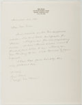 Autographs:Authors, Gail Clark [Maggie MacKeever]. Autograph Letter Signed. Near fine....