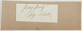 Autographs:Artists, Benjamin F. Butler (1818-1893, Governor of Massachusetts). Clipped Signature. Very good....