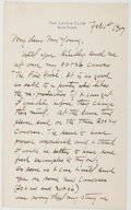 Autographs:Artists, Charles W. Eaton (1857-1937, American Artist and Painter).Autograph Letter Signed. Very good....