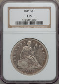 Seated Dollars: , 1845 $1 Fine 15 NGC. NGC Census: (1/134). PCGS Population (2/215).Mintage: 24,500. Numismedia Wsl. Price for problem free ...