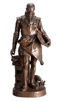 Bronze:European, AN ERNEST BARRIAS (FRENCH, 1841-1905) PATINATED BRONZE FIGURE:BERNARD PALISSY . Paris, France, circa 1900. Marks: ...