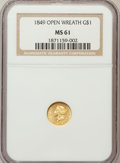 Gold Dollars: , 1849 G$1 Open Wreath MS61 NGC. NGC Census: (267/936). PCGSPopulation (104/737). Mintage: 687,500. Numismedia Wsl. Price fo...