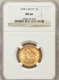 Liberty Half Eagles: , 1908 $5 MS66 NGC. NGC Census: (49/6). PCGS Population (32/8).Mintage: 421,874. Numismedia Wsl. Price for problem free NGC/...