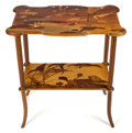 Furniture : French, A GALLÉ MARQUETRY TWO-TIERED SIDE TABLE . Émile Gallé (French,1846-1904), Nancy, France, circa 1900. Marks: Gallé (inla...