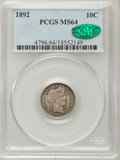 Barber Dimes: , 1892 10C MS64 PCGS. CAC. PCGS Population (301/186). NGC Census:(328/214). Mintage: 12,121,245. Numismedia Wsl. Price for p...