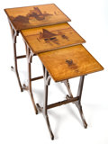 Furniture : French, A SET OF THREE GALLÉ MARQUETRY NESTING TABLES . Émile Gallé(French, 1846-1904), Nancy, France, circa 1900. Marks:Gallé... (Total: 3 Items)