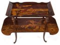 Furniture : French, AN ÉMILE GALLÉ (French, 1846-1904) MARQUETRY DROP-LEAF TWO-TIERTABLE . Nancy, France, circa 1900. Marks: Gallé (inlaid)...