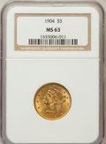Liberty Half Eagles: , 1904 $5 MS63 NGC. NGC Census: (751/457). PCGS Population (547/289).Mintage: 392,000. Numismedia Wsl. Price for problem fre...