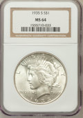 Peace Dollars: , 1935-S $1 MS64 NGC. NGC Census: (877/476). PCGS Population(1342/733). Mintage: 1,964,000. Numismedia Wsl. Price for proble...