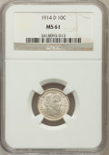 Barber Dimes: , 1914-D 10C MS61 NGC. NGC Census: (21/318). PCGS Population(12/338). Mintage: 11,908,000. Numismedia Wsl. Price for problem...