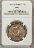 Commemorative Silver: , 1954 50C Washington-Carver MS64 NGC. NGC Census: (343/358). PCGSPopulation (623/478). Mintage: 12,006. Numismedia Wsl. Pri...