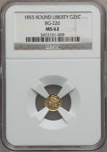 California Fractional Gold: , 1855 25C Liberty Round 25 Cents, BG-226, R.5, MS62 NGC. NGC Census:(2/1). PCGS Population (10/14). (#10411)...