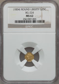 California Fractional Gold: , Undated 25C Liberty Round 25 Cents, BG-224, R.3, MS62 NGC. NGCCensus: (14/17). PCGS Population (69/87). (#10409)...