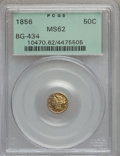 California Fractional Gold: , 1856 50C Liberty Round 50 Cents, BG-434, Low R.4, MS62 PCGS. PCGSPopulation (37/22). NGC Census: (7/2). (#10470)...
