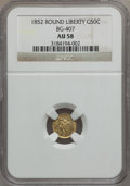 California Fractional Gold: , 1852 50C Liberty Round 50 Cents, BG-407, R.4, AU58 NGC. NGC Census:(6/12). PCGS Population (28/49). (#10443)...