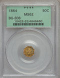California Fractional Gold: , 1854 50C Liberty Octagonal 50 Cents, BG-308, R.4, MS62 PCGS. PCGSPopulation (35/20). NGC Census: (7/2). (#10428)...