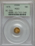 California Fractional Gold: , 1875 50C Indian Octagonal 50 Cents, BG-948, High R.5, MS63 PCGS.PCGS Population (14/6). NGC Census: (2/0). (#10806)...