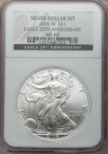 Modern Bullion Coins, 2006-W $1 Silver Eagle 20th Anniversary MS69 NGC. NGC Census:(33419/7082). PCGS Population (10755/350). Numismedia Wsl. P...