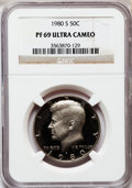 Proof Kennedy Half Dollars: , 1980-S 50C PR69 Ultra Cameo NGC. NGC Census: (1150/85). PCGSPopulation (6316/156). Numismedia Wsl. Price for problem free...