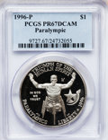 Modern Issues: , 1996-P $1 Olympic/Paralympics Silver Dollar PR67 Deep Cameo PCGS.PCGS Population (50/1511). NGC Census: (9/1209). Numisme...
