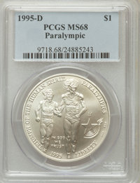 1995-D $1 Olympic/Paralympics Silver Dollar MS68 PCGS. PCGS Population (43/1598). NGC Census: (9/1108). Numismedia Wsl...