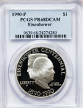 Modern Issues: , 1990-P $1 Eisenhower Silver Dollar PR68 Deep Cameo PCGS. PCGSPopulation (312/5870). NGC Census: (85/3351). Mintage: 1,144,...