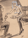 """Pulp, Pulp-like, Digests, and Paperback Art, BILL WARD (American, 1919-1998). """"You're Quite Unusual, Harley,Aren't You Afraid That All of This Coffee Will Keep You Aw..."""