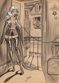 Pulp, Pulp-like, Digests, and Paperback Art, BILL WARD (American, 1919-1998). On the Phone, cartoonillustration. Charcoal on paper. 23 x 16.75 in.. Signed lowercen...