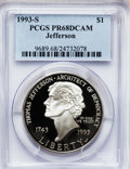 Modern Issues: , 1993-S $1 Jefferson Silver Dollar PR68 Deep Cameo PCGS. PCGSPopulation (203/1557). NGC Census: (67/1954). Mintage: 332,891...