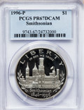 Modern Issues: , 1996-P $1 Smithsonian Silver Dollar PR67 Deep Cameo PCGS. PCGSPopulation (72/1649). NGC Census: (4/1621). Mintage: 129,152...