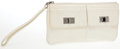 Luxury Accessories:Bags, Heritage Vintage: Chanel White Lambskin Leather ChevronPocket Clutch. ...