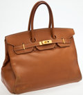 Luxury Accessories:Bags, Heritage Vintage: Hermes 35cm Gold Ardennes Leather Birkin with Gold Hardware. ...