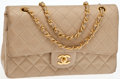 Luxury Accessories:Bags, Heritage Vintage: Chanel Beige Lambskin Leather QuiltedSingle Flap Bag with Gold Chain. ...