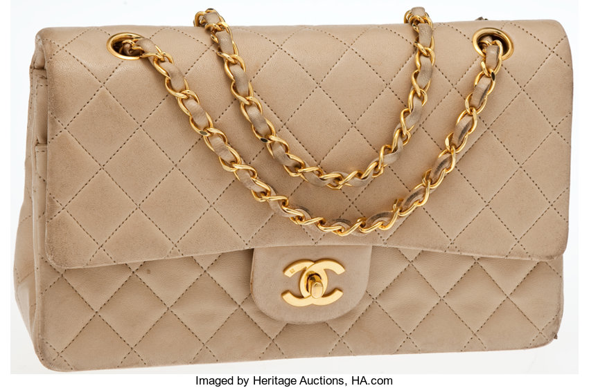 7aae285e5a50a5 ... Luxury Accessories:Bags, Heritage Vintage: Chanel Beige Lambskin Leather  QuiltedSingle Flap Bag with ...