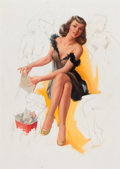 Pin-up and Glamour Art, TED WITHERS (American, 1896-1964). Final Bill, The Artist SketchPad calendar pin-up, November 1954. Pencil and oil on m...