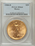 Saint-Gaudens Double Eagles: , 1908-D $20 Motto MS64 PCGS. PCGS Population (930/337). NGC Census:(581/91). Mintage: 349,500. Numismedia Wsl. Price for pr...