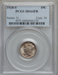 Mercury Dimes: , 1928-S 10C MS64 Full Bands PCGS. PCGS Population (72/96). NGCCensus: (33/29). Mintage: 7,400,000. Numismedia Wsl. Price fo...