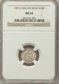 Seated Half Dimes: , 1872-S H10C Mintmark Below Bow MS62 NGC. NGC Census: (85/500). PCGSPopulation (81/426). Mintage: 837,000. Numismedia Wsl. ...
