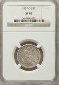 Seated Quarters: , 1857-O 25C XF45 NGC. NGC Census: (5/52). PCGS Population (10/50).Mintage: 1,180,000. Numismedia Wsl. Price for problem fre...