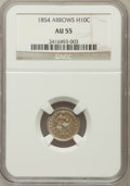 Seated Half Dimes: , 1854 H10C Arrows AU55 NGC. NGC Census: (22/485). PCGS Population(42/339). Mintage: 5,740,000. Numismedia Wsl. Price for pr...
