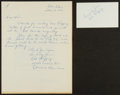 Baseball Collectibles:Others, Red Ruffing Handwritten, Signed Letter and Index Card....