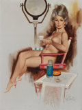 Pin-up and Glamour Art, FRITZ WILLIS (American, 1907-1979). In the Studio, Artist SketchBook Memo Calendar, July 1970. Oil on canvas laid on bo...