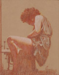 Mainstream Illustration, RUDY GARCIA (American, 20th Century). Seated Woman. Pastelon board. 9.75 x 7.75 in.. Signed lower right. From the E...