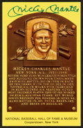 Autographs:Post Cards, Mickey Mantle Signed Gold HOF Plaque Postcard....