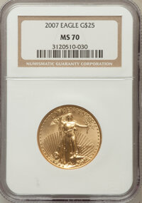 2007 $25 Half-Ounce Gold Eagle MS70 NGC. NGC Census: (5716). PCGS Population (14). Numismedia Wsl. Price for problem fre...