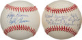Baseball Collectibles:Balls, Shot Hear 'Round the World and Warren Spahn Inscribed Signed Baseballs Lot of 2....
