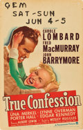 "Movie Posters:Comedy, True Confession (Paramount, 1937). Window Card (14"" X 22"").. ..."