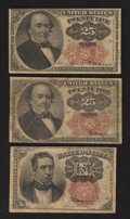 Fractional Currency:Fifth Issue, Fr. 1266 10¢ Fifth Issue Fine;. Two Fr. 1308 25¢ Fifth Issue NotesFine or Better.. ... (Total: 3 notes)
