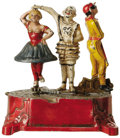 Antiques:Toys, Clown, Harlequin and Columbine Mechanical Bank...